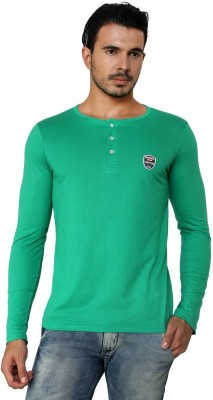 Free Spirit Solid Men's Henley Green T-Shirt