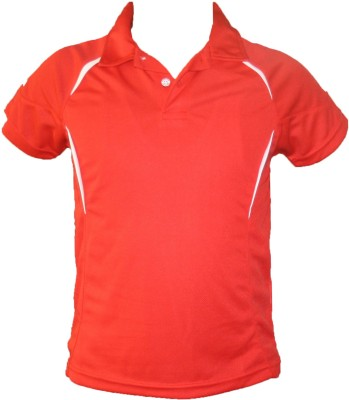 T10 Sports Solid Boy's Polo Neck Red T-Shirt