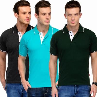 Scott International Solid Men's Polo Dark Green, Light Blue, Black T-Shirt