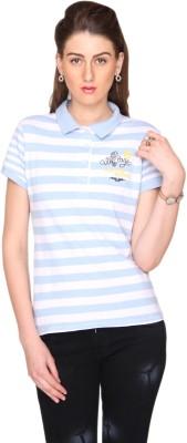 Bedazzle Striped Women's Polo Neck T-Shirt