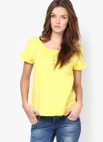 Only Solid Women's Round Neck Yellow T-S...