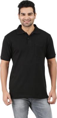6P6 Solid Men's Polo Neck Black T-Shirt