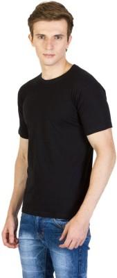 LF Solid Men's Round Neck Black T-Shirt
