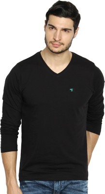 The Indian Garage Co. Solid Men's V-neck Black T-Shirt