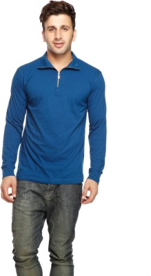 Gritstones Solid Men's Polo Blue T-Shirt