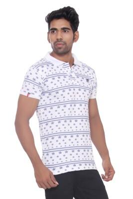 Pezzava Self Design Men's Flap Collar Neck Reversible White, Blue T-Shirt