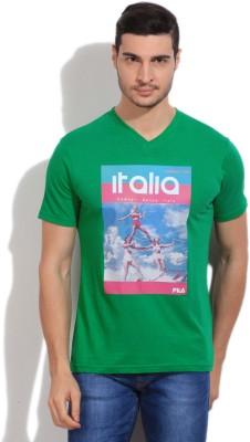 Fila Printed Men's V-neck Green T-Shirt