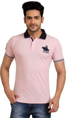 Goplay Solid Men's Polo Neck Pink T-Shirt