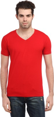 TEES COLLECTION Solid Men's V-neck Red T-Shirt