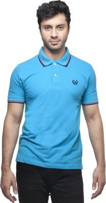 Peerage Solid Men's Polo Neck Light Blue T-Shirt