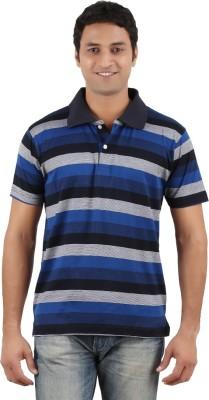 Neoteric Striped Men's Polo Neck Dark Blue T-Shirt
