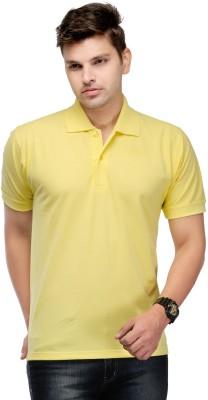 Kiosha Solid Men's Polo Yellow T-Shirt