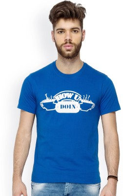 Chulbul Graphic Print Men's Round Neck Blue T-Shirt
