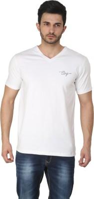 Ebry Solid Men's V-neck White T-Shirt