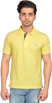 Urban Trail Solid Men's Polo Neck Yellow T-Shirt