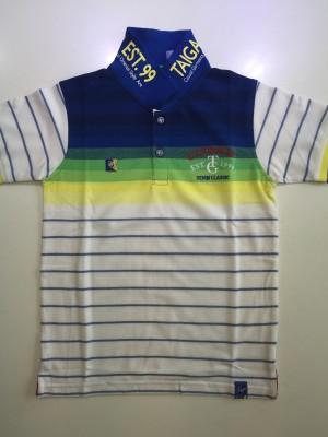 Taiga Striped Boy's Polo Neck Blue T-Shirt