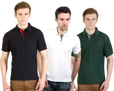 100Tees Solid Men's Polo Neck Black, White, Green T-Shirt