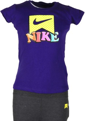 Nike Kids Printed Girl's Round Neck Purple T-Shirt