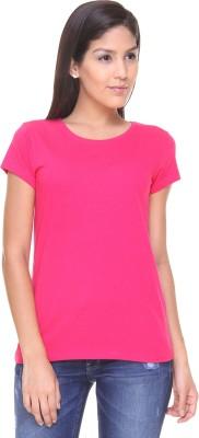 Alibi By Inmark Solid Women's Round Neck Pink T-Shirt