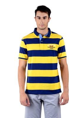 Mudo Striped Men's Polo Neck Yellow, Dark Blue T-Shirt