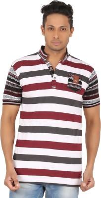 R-CROSS Striped Men,s Mandarin Collar Maroon, White T-Shirt