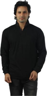 V3Squared Solid Men's V-neck Black T-Shirt