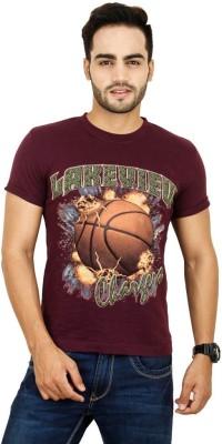 Opiumstreet Printed Men's Round Neck Purple T-Shirt