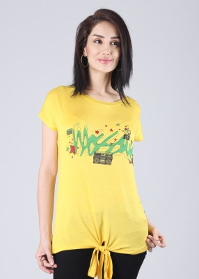 Mossimo Printed Women's Round Neck Yellow T-Shirt