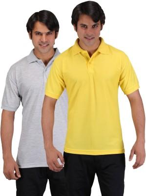 Aqua Solid Men's Polo Neck Grey, Yellow T-Shirt