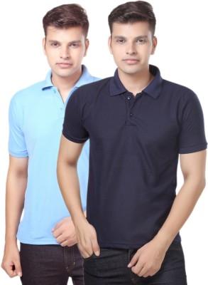 eSOUL Solid Men's Polo Neck Light Blue, Dark Blue T-Shirt