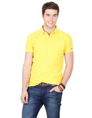 Basics Solid Men's Polo Neck Yellow T-Shirt