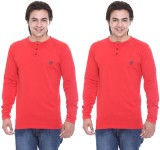 Cee-For Solid Men's Henley Red T-Shirt