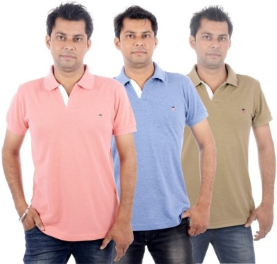 Wells Smith Embroidered Men,s Polo Neck Pink, Blue, Beige T-Shirt