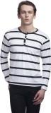 Clo Clu Striped Men's Round Neck White T...