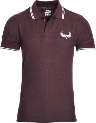 Avenster Solid Men's Polo Neck Brown T-Shirt