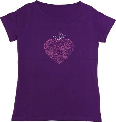 Dovekie Printed Women's Round Neck Purple T-Shirt