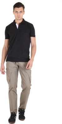 COASTER Solid Men's Polo Neck Black T-Shirt