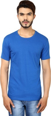 Whistle Solid Men's Round Neck Blue T-Shirt