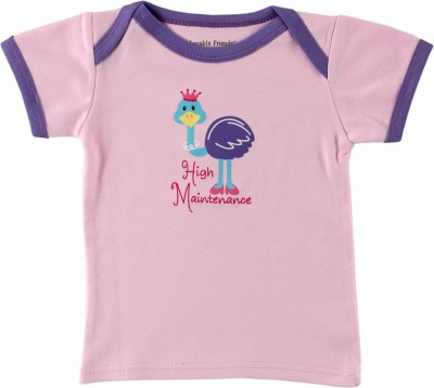 Luvable Friends Graphic Print Baby Girl's Round Neck Pink T-Shirt