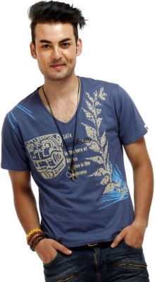 Chlorophile Printed Mens V-neck Blue T-Shirt