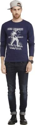 Cali Republic Printed Men's Round Neck Blue, Grey T-Shirt