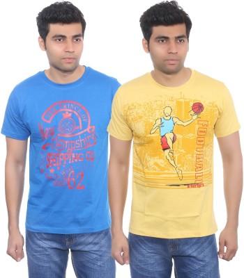 Studio Nexx Printed Men's Round Neck Blue, Yellow T-Shirt