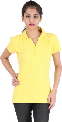 Avarnas Solid Women's Polo Yellow T-Shirt
