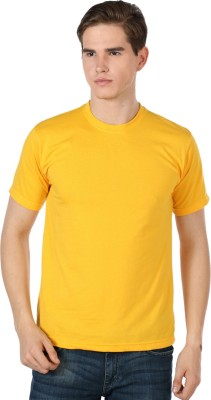 River Nation Solid Men's Round Neck Yellow T-Shirt