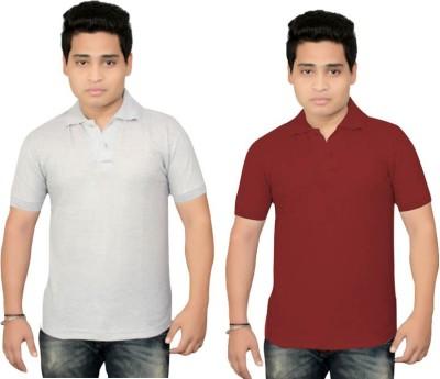 BrandTrendz Solid Men's Polo Neck Grey, Maroon T-Shirt