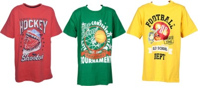 Farico Printed Boy's Round Neck Yellow, Pink, Green T-Shirt