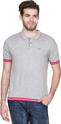 Fort Collins Striped Men's Polo Neck Grey T-Shirt