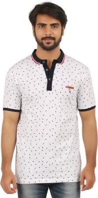 curviva Printed Men's Polo Neck White T-Shirt