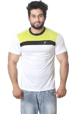Stylar Solid Men's Round Neck White, Green T-Shirt