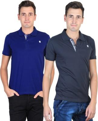 Duke Solid Men's Polo Neck Blue, Grey T-Shirt